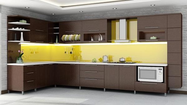 Mẫu kính cường lực ốp bếp màu vàng 5