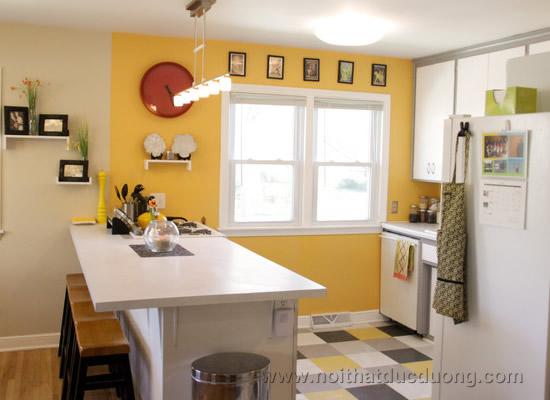 Mẫu kính cường lực ốp bếp màu vàng 3