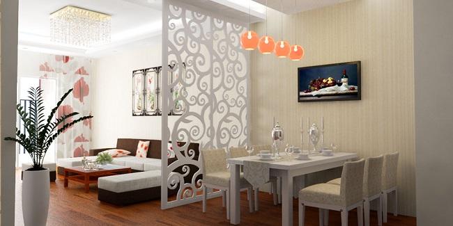 Vách ngăn phòng khách và nhà bếp bằng nhựa